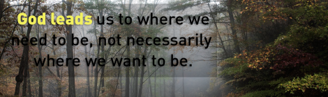 God leads us to where we need to be, not necessarily where we want to be.