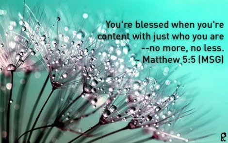You're blessed when you're content with just who you are--no more, no less. ~ Matthew 5:5 (MSG)