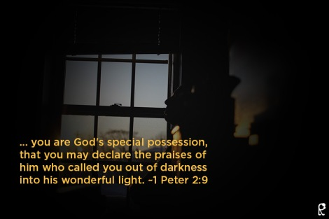 ... you are God's special possession, that you may declare the praises of him who called you out of darkness into his wonderful light. ~1 Peter 2:9