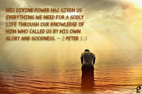His divine power has given us everything we need for a godly life through our knowledge of him who called us by his own glory and goodness. ~ 2 Peter 1:3