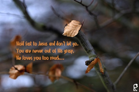 Hold fast to Jesus and don't let go. You are never out of His grasp, He loves you too much...