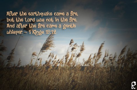 After the earthquake came a fire, but the Lord was not in the fire. And after the fire came a gentle whisper. ~ 1 Kings 19:12