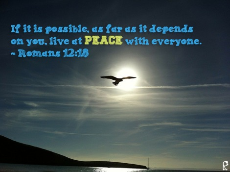 If it is possible, as far as it depends on you, live at peace with everyone. ~ Romans 12:18