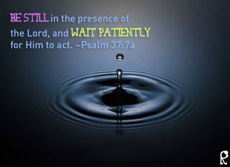 Be still in the presence of the Lord, and wait patiently for Him to act. ~Psalm 37:7a