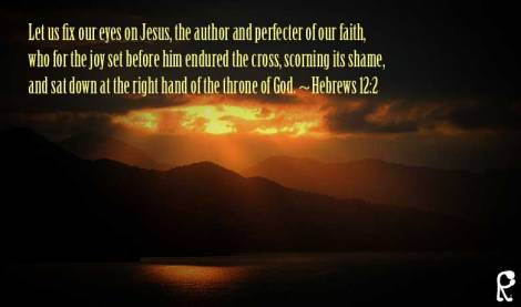 Let us fix our eyes on Jesus, the author and perfecter of our faith, who for the joy set before him endured the cross, scorning its shame, and sat down at the right hand of the throne of God. ~Hebrews 12:2