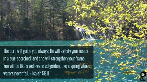 The Lord will guide you always; He will satisfy your needs in a sun-scorched land and will strengthen your frame. You will be like a well-watered garden, like a spring whose waters never fail. ~Isaiah58:11