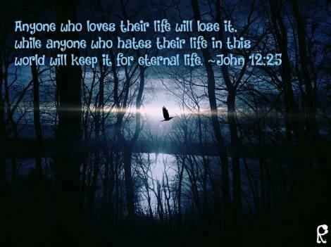 Anyone who loves their life will lose it, while anyone who hates their life in this world will keep it for eternal life. ~John 12:25