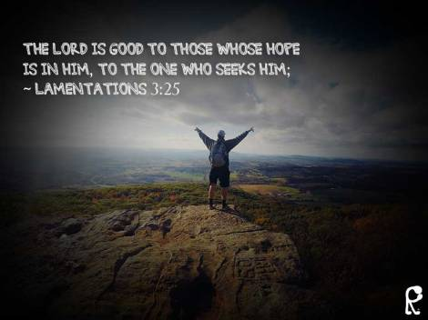 The Lord is good to those whose hope is in Him, to the one who seeks Him; ~ Lamentations 3:25