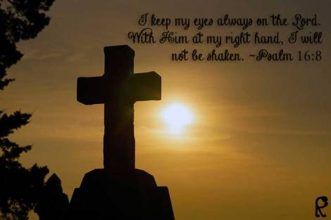 I keep my eyes always on the Lord. With Him at my right hand, I will not be shaken. ~Psalm 16:8