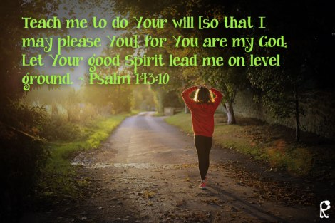 Teach me to do Your will [so that I may please You], for You are my God; Let Your good Spirit lead me on level ground. ~ Psalm 143:10