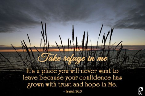 Take refuge in me. It's a place you will never want to leave because your confidence has grown with trust and hope in Me. - Isaiah 26:3