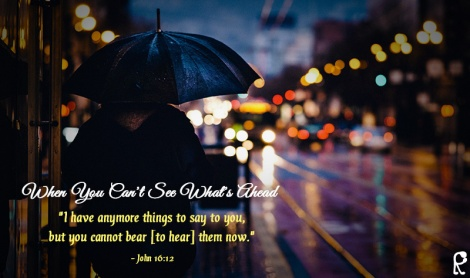 "When You Can't See What's Ahead -- ""I have anymore things to say to you, but you cannot bear [to hear] them now."" - John 16:12"